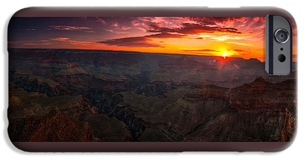 Red Rock iPhone Cases - Dawn breaks over Yavapai Pt.  iPhone Case by Brian Menasco