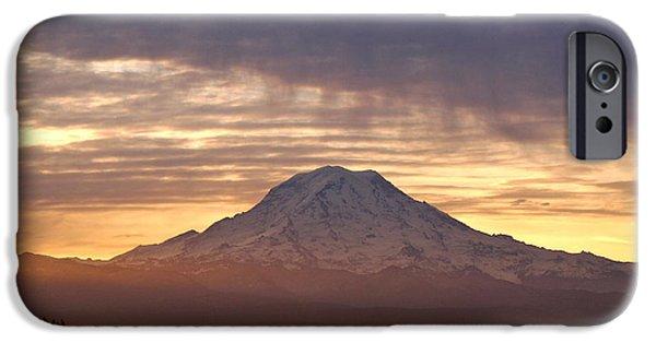 Dawn Mist About Mount Rainier iPhone Case by Sean Griffin