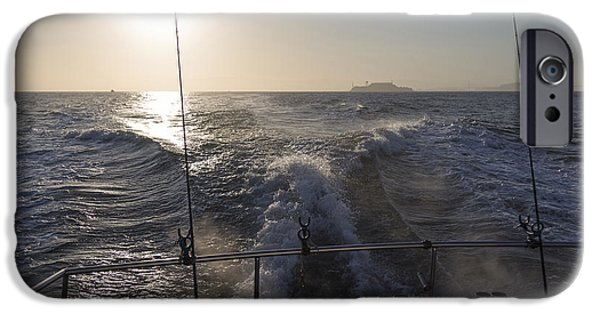 Alcatraz iPhone Cases - Dawn Over Alcatraz iPhone Case by Hugh Stickney