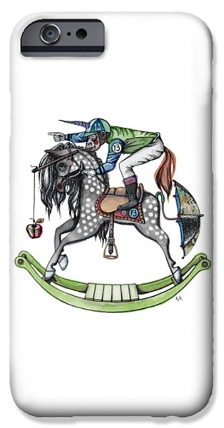 Unicorn Art iPhone Cases - Day at the Races iPhone Case by Kelly Jade King