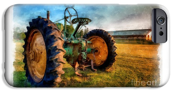 John Deere Tractor iPhone Cases - Day is Done Watercolor iPhone Case by Edward Fielding