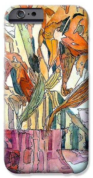 Day Lilies iPhone Cases - Day Lilies in a Rose Vase iPhone Case by Mindy Newman