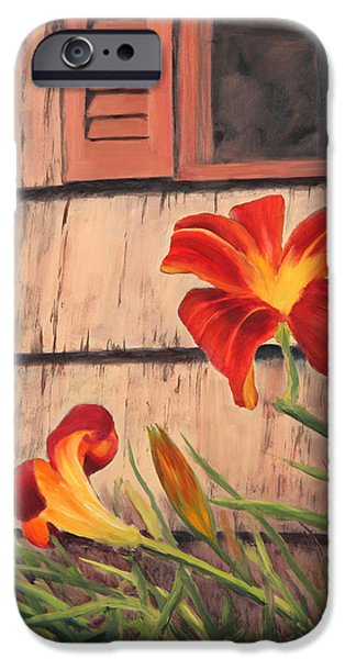 Daylilies at the Shed iPhone Case by Elaine Farmer