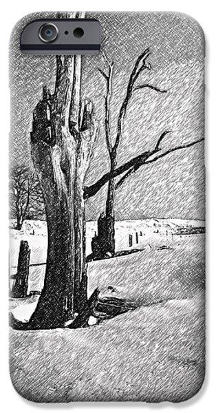 Winter Storm Digital iPhone Cases - Dead of Winter iPhone Case by Steve Harrington