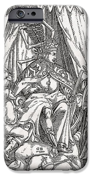 Switzerland Drawings iPhone Cases - Death Comes For The Emperor Woodcut By iPhone Case by Ken Welsh