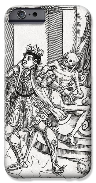 Switzerland Drawings iPhone Cases - Death Comes For The King From Der iPhone Case by Ken Welsh