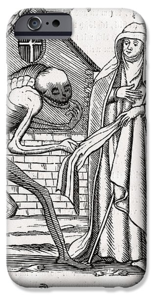 Switzerland Drawings iPhone Cases - Death Comes To The Abbess From Der iPhone Case by Ken Welsh