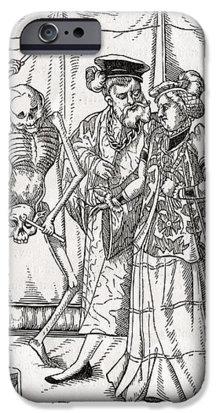 Duchess iPhone Cases - Death Comes To The Duchess Woodcut By iPhone Case by Vintage Design Pics