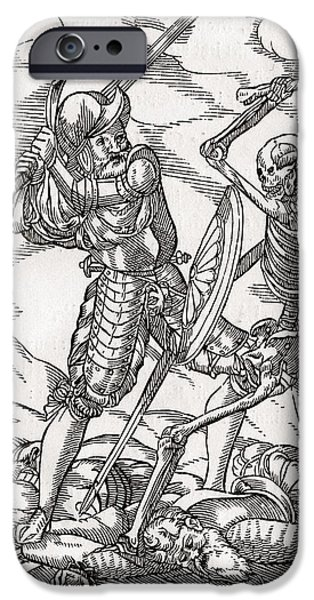 Switzerland Drawings iPhone Cases - Death Comes To The Soldier Woodcut By iPhone Case by Ken Welsh