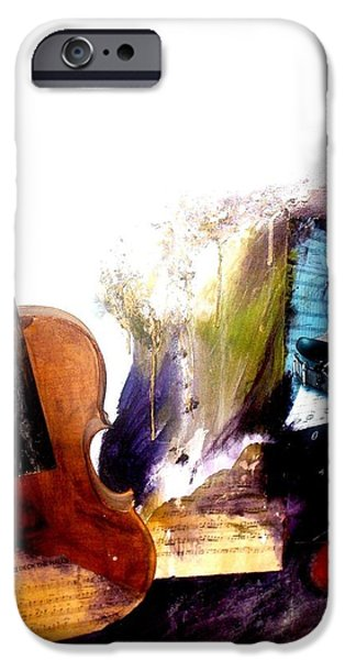 Music Glass iPhone Cases - Death of a violin iPhone Case by Ewan Peart