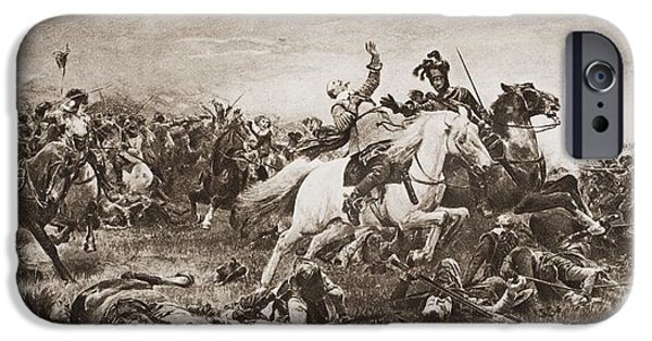 Animal Drawings iPhone Cases - Death Of Gustavus Adolphus, 1594-1632 iPhone Case by Ken Welsh