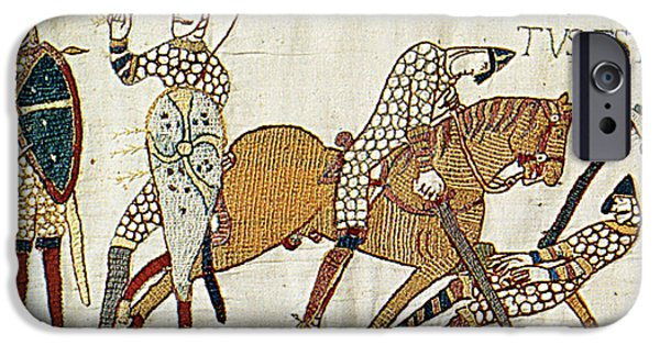 Narrative iPhone Cases - Death Of Harold, Bayeux Tapestry iPhone Case by Photo Researchers