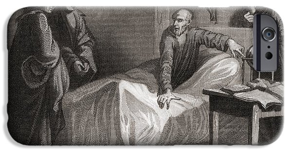 Jesus Drawings iPhone Cases - Death Of Saint Ignatius Of Loyola, 1491 iPhone Case by Ken Welsh
