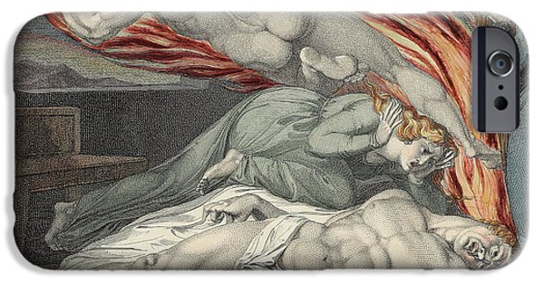 William Blake Drawings iPhone Cases - Death of the Strong Wicked Man iPhone Case by Sir William Blake
