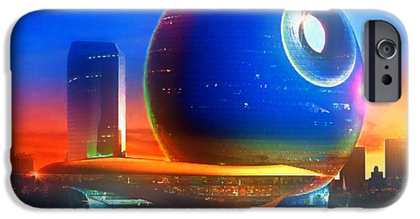 Concept Art iPhone Cases - Death Star Decomissioned iPhone Case by Mario Carini