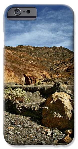 Desert Scape iPhone Cases - Death Valley Boulder iPhone Case by Chris Brannen
