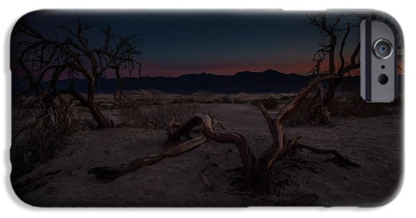 Sand Dunes Pyrography iPhone Cases - Death Valley Sunrise iPhone Case by Rick Strobaugh