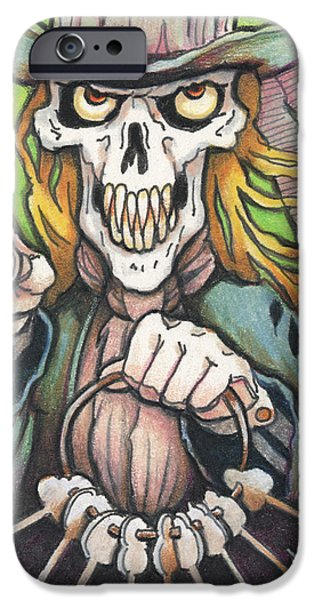 Skeleton Drawings iPhone Cases - Deaths Doorman iPhone Case by Amy S Turner