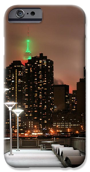 Snowy Night iPhone Cases - December in New York iPhone Case by JC Findley
