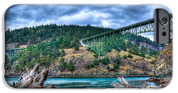 David Patterson iPhone Cases - Deception Pass Bridge iPhone Case by David Patterson