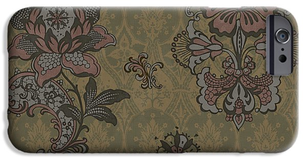 Fabric iPhone Cases - Deco Flower Brown iPhone Case by JQ Licensing