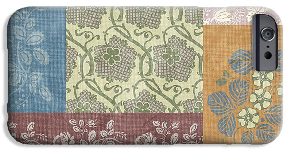 Fabric iPhone Cases - Deco Flower Patchwork 2 iPhone Case by JQ Licensing