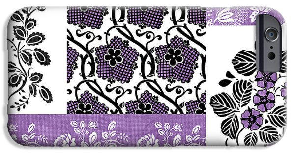 Fabric iPhone Cases - Deco Flower Patchwork 3 iPhone Case by JQ Licensing