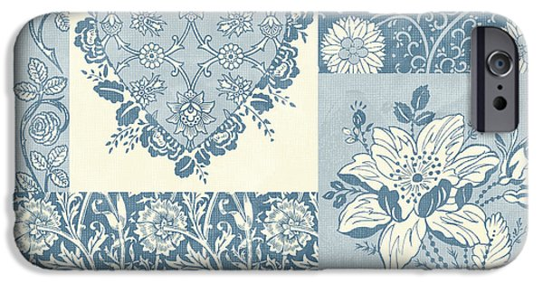 Fabric iPhone Cases - Deco Heart Blue iPhone Case by JQ Licensing