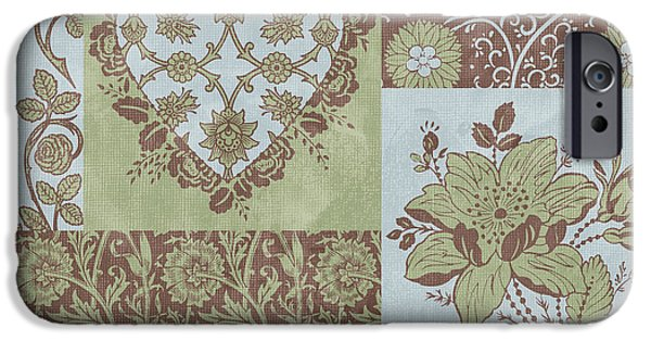 Fabric iPhone Cases - Deco Heart Sage iPhone Case by JQ Licensing
