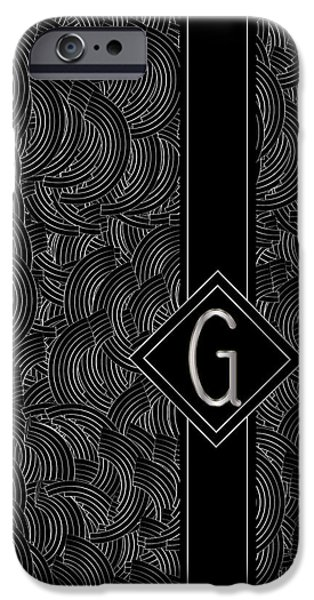 Party Invite iPhone Cases - Deco Jazz Swing Monogram ...letter G iPhone Case by Cecely Bloom