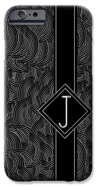Jeremy iPhone Cases - Deco Jazz Swing Monogram ...letter J iPhone Case by Cecely Bloom