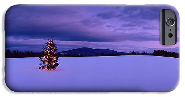 New England Snow Scene Photographs iPhone Cases - Decorated Christmas Tree In A Snow iPhone Case by Panoramic Images