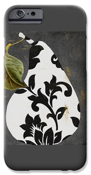 Pears Paintings iPhone Cases - Decorative Damask Pear I iPhone Case by Mindy Sommers