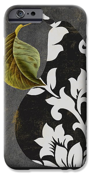 Pears Paintings iPhone Cases - Decorative Damask Pear II iPhone Case by Mindy Sommers