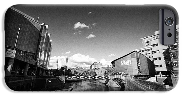 Canal Street Line iPhone Cases - Deep Cutting Section Of Oozells Street Loop Area Birmingham Canal Navigations Brindleys Old Main Lin iPhone Case by Joe Fox