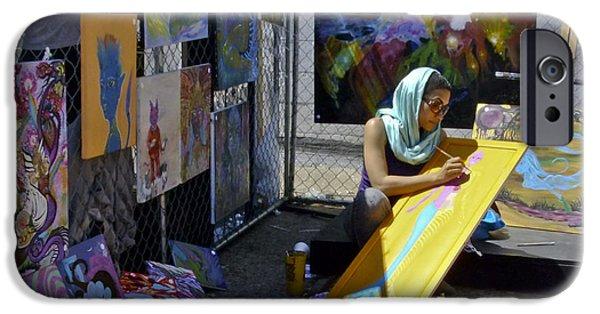 Painter Photographs iPhone Cases - Deep Elum - Artist at Work  iPhone Case by Allen Sheffield