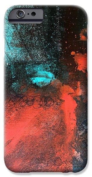 Deep Space Art Paintings iPhone Cases - Deep Space iPhone Case by Nancy Merkle