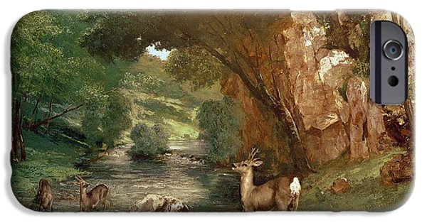Animals Photographs iPhone Cases - Deer by a River iPhone Case by Gustave Courbet