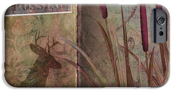 Cattails iPhone Cases - Deer Crossing  iPhone Case by Mindy Sommers