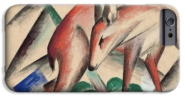 Abstract Shapes Drawings iPhone Cases - Deer iPhone Case by Franz Marc