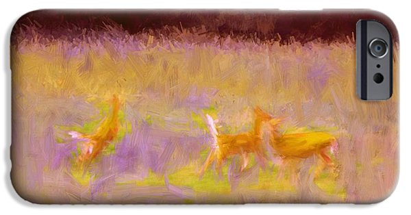 Snow iPhone Cases - Deer In The Flood iPhone Case by Gina Seymour