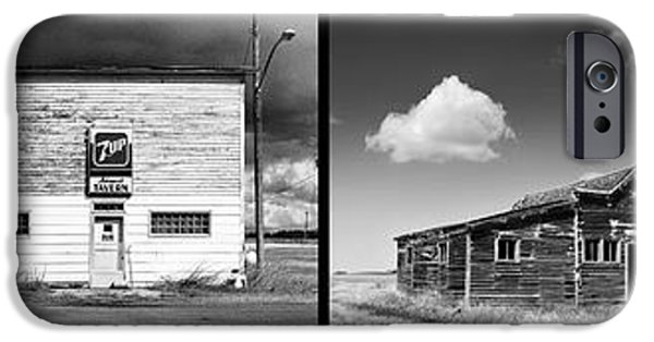 Interior Scene iPhone Cases - Defunct Country Taverns on North Dakota Prairie Composite Horizo iPhone Case by Donald  Erickson