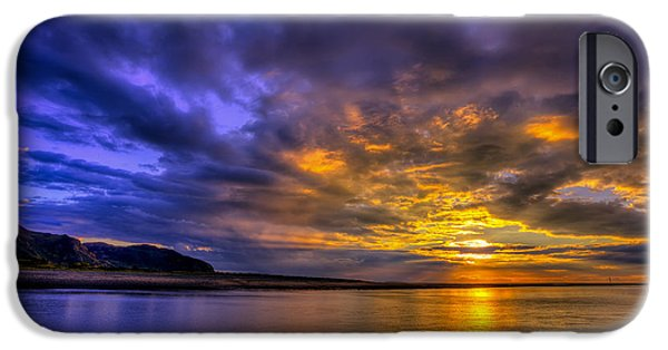 Beach Landscape Digital iPhone Cases - Deganwy Sunset iPhone Case by Adrian Evans