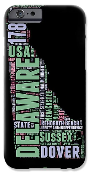 4th July Mixed Media iPhone Cases - Delaware Word Cloud 1 iPhone Case by Naxart Studio