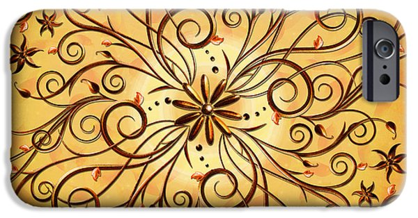 Abstract Digital iPhone Cases - Delicate Floral Scrolls iPhone Case by Bedros Awak