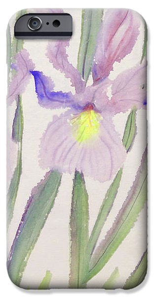 """indoor"" Still Life Paintings iPhone Cases - Delicate Purple Iris iPhone Case by Sharon Nelson-Bianco"