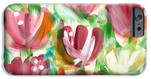 Abstract Expressionist iPhone Cases - Delightful Tulip Garden iPhone Case by Linda Woods