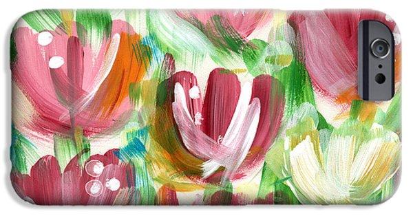 Summer Weddings iPhone Cases - Delightful Tulip Garden iPhone Case by Linda Woods