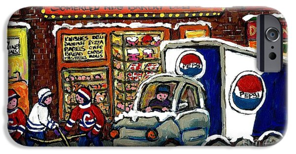 Montreal Bagels iPhone Cases - Delivery Day Yagel Bagel Bakery Pepsi Truck Boys Playing Hockey Best Montreal Hockey Winter Art iPhone Case by Carole Spandau