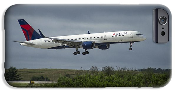 Connection iPhone Cases - Delta Air Lines Airplane N557NW iPhone Case by Reid Callaway